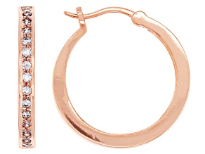 White Cubic Zirconia 18K Rose Gold Over Sterling Silver Hoop Earrings 0.81ctw