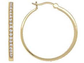 White Cubic Zirconia 18K Yellow Gold Over Sterling Silver Hoop Earrings 1.18ctw