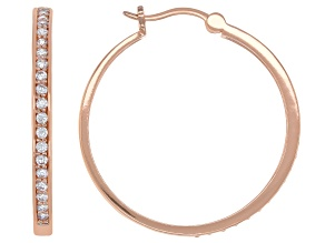White Cubic Zirconia 18K Rose Gold Over Sterling Silver Hoop Earrings 1.18ctw