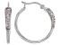 White Cubic Zirconia Rhodium Over Sterling Silver Hoop Earrings 0.89ctw