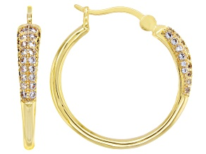 White Cubic Zirconia 18K Yellow Gold Over Sterling Silver Hoop Earrings 0.89ctw