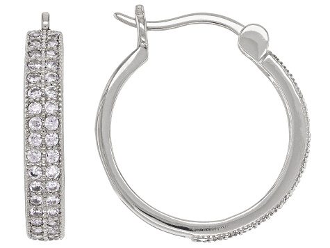 White Cubic Zirconia Rhodium Over Sterling Silver Hoop Earrings 1.07ctw