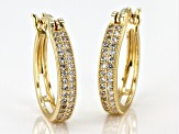 White Cubic Zirconia 18K Yellow Gold Over Sterling Silver Hoop Earrings 1.07ctw