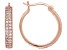 White Cubic Zirconia 18K Rose Gold Over Sterling Silver Hoop Earrings 1.07ctw