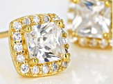 White Cubic Zirconia 18K Yellow Gold Over Sterling Silver Earrings 1.34ctw