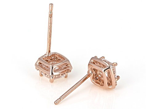 White Cubic Zirconia 18K Rose Gold Over Sterling Silver Earrings 1.34ctw