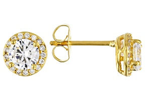 White Cubic Zirconia 18K Yellow Gold Over Sterling Silver Earrings 1.93ctw