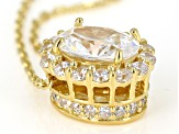 White Cubic Zirconia 18K Yellow Gold Over Sterling Silver Pendant With Chain 2.66ctw