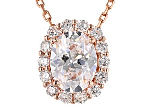 White Cubic Zirconia 18K Rose Gold Over Sterling Silver Pendant With Chain 2.66ctw