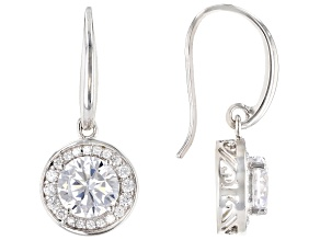 White Cubic Zirconia Rhodium Over Sterling Silver Earrrings 5.00ctw