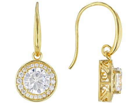 White Cubic Zirconia 18K Yellow Gold Over Sterling Silver Earrings 5.00ctw
