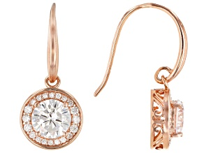 White Cubic Zirconia 18K Rose Gold Over Sterling Silver Earrings 5.00ctw