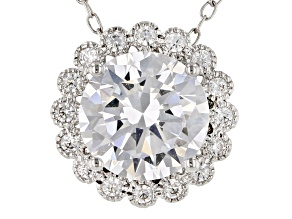 White Cubic Zirconia Rhodium Over Sterling Silver Pendant With Chain 3.22ctw