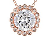White Cubic Zirconia 18K Rose Gold Over Sterling Silver Pendant With Chain 3.22ctw