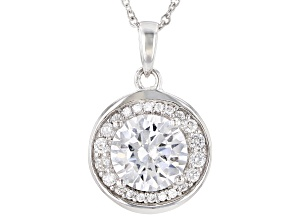 White Cubic Zirconia Rhodium Over Sterling Silver Pendant With Chain 3.40ctw
