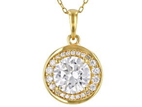 White Cubic Zirconia 18K Yellow Gold Over Sterling Silver Pendant With Chain 3.40ctw