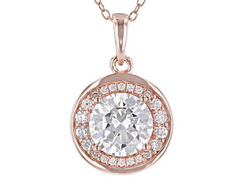 White Cubic Zirconia 18K Rose Gold Over Sterling Silver Pendant With Chain 3.40ctw