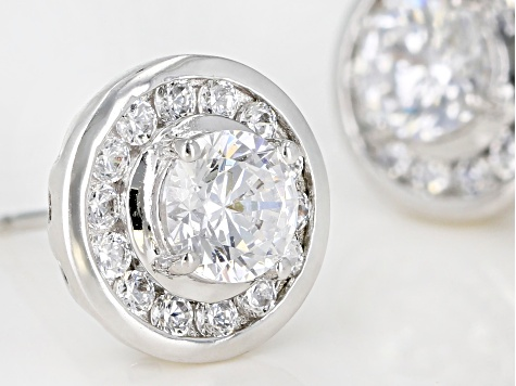 White Cubic Zirconia Rhodium Over Sterling Silver Stud Earrings 2.38ctw