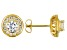 White Cubic Zirconia 18K Yellow Gold Over Sterling Silver Stud Earrings 2.38ctw