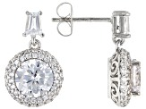 White Cubic Zirconia Rhodium Over Sterling Silver Earrings 5.95ctw