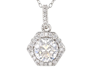 White Cubic Zirconia Rhodium Over Sterling Silver Pendant With Chain 2.54ctw