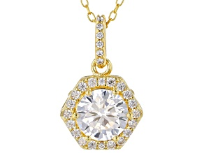 White Cubic Zirconia 18K Yellow Gold Over Sterling Silver Pendant With Chain 2.54ctw