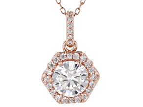 White Cubic Zirconia 18K Rose Gold Over Sterling Silver Pendant With Chain 2.54ctw