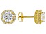 White Cubic Zirconia 18K Yellow Gold Over Sterling Silver Earrings 4.97ctw