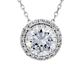 White Cubic Zirconia Rhodium Over Sterling Silver Pendant With Chain 3.30ctw