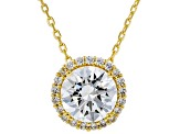 White Cubic Zirconia 18K Yellow Gold Over Sterling Silver Pendant With Chain 3.30ctw