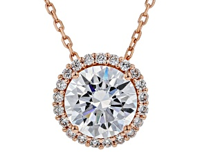 White Cubic Zirconia 18K Rose Gold Over Sterling Silver Pendant With Chain 3.30ctw