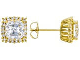 White Cubic Zirconia 18K Yellow Gold Over Sterling Silver Earrings 5.79ctw