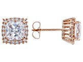 White Cubic Zirconia 18K Rose Gold Over Sterling Silver Earrings 5.79ctw