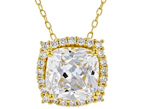 White Cubic Zirconia 18K Yellow Gold Over Sterling Silver Pendant With Chain 3.98ctw