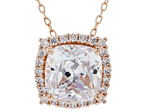White Cubic Zirconia 18K Rose Gold Over Sterling Silver Pendant With Chain 3.98ctw