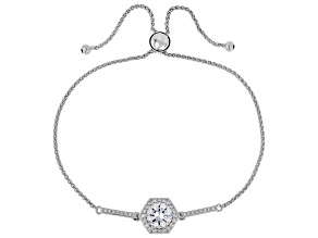 White Cubic Zirconia Rhodium Over Sterling Silver Adjustable Bracelet 2.63ctw