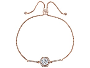 White Cubic Zirconia 18K Rose Gold Over Sterling Silver Adjustable Bracelet 2.63ctw
