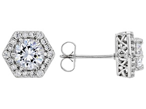White Cubic Zirconia Rhodium Over Sterling Silver Earrings 3.40ctw
