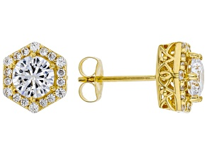 White Cubic Zirconia 18K Yellow Gold Over Sterling Silver Earrings 3.40ctw