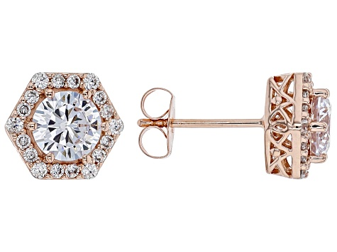 White Cubic Zirconia 18K Rose Gold Over Sterling Silver Earrings 3.40ctw