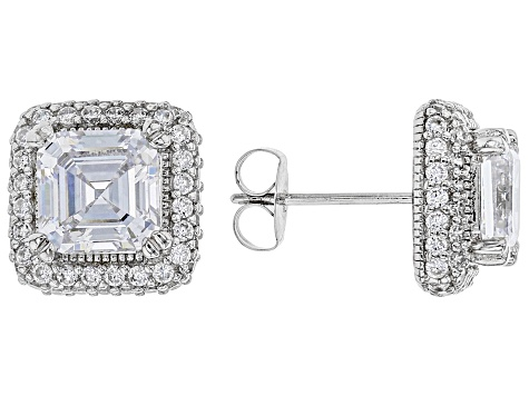 White Cubic Zirconia Rhodium Over Sterling Silver Earrings 7.16ctw