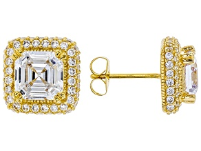 White Cubic Zirconia 18K Yellow Gold Over Sterling Silver Earrings 7.16ctw