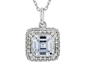White Cubic Zirconia Rhodium Over Sterling Silver Pendant With Chain 3.57ctw