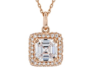 White Cubic Zirconia 18K Rose Gold Over Sterling Silver Pendant With Chain 3.57ctw