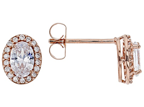 White Cubic Zirconia 18K Rose Gold Over Sterling Silver Earrings 1.76ctw