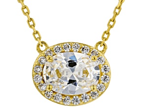 White Cubic Zirconia 18K Yellow Gold Over Sterling Silver Necklace 2.12ctw