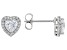 White Cubic Zirconia Rhodium Over Sterling Silver Heart Stud Earrings 1.69ctw