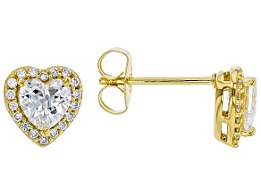 White Cubic Zirconia 18K Yellow Gold Over Sterling Silver Heart Stud Earrings 1.69ctw