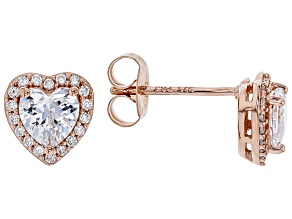 White Cubic Zirconia 18K Rose Gold Over Sterling Silver Heart Stud Earrings 1.69ctw
