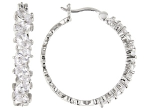 White Cubic Zirconia Rhodium Over Sterling Silver Hoop Earrings 4.79ctw